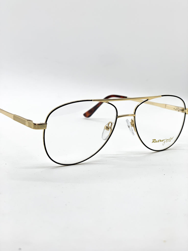 Gold and black retro glasses detail