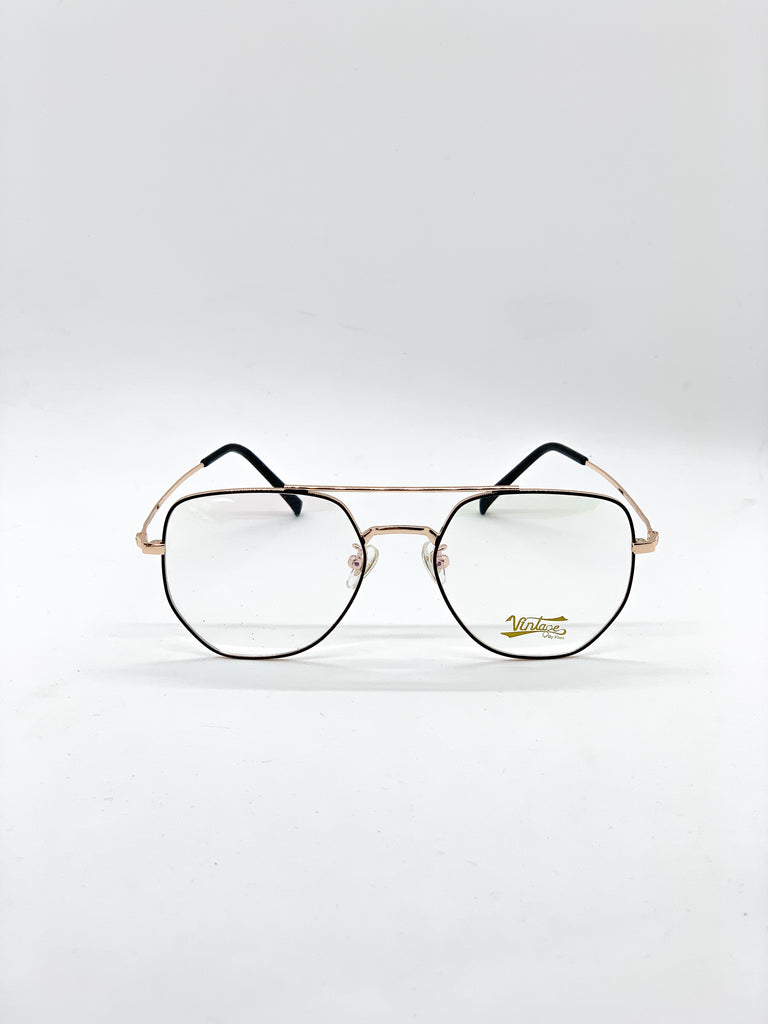 Gold and black retro glasses fom the front