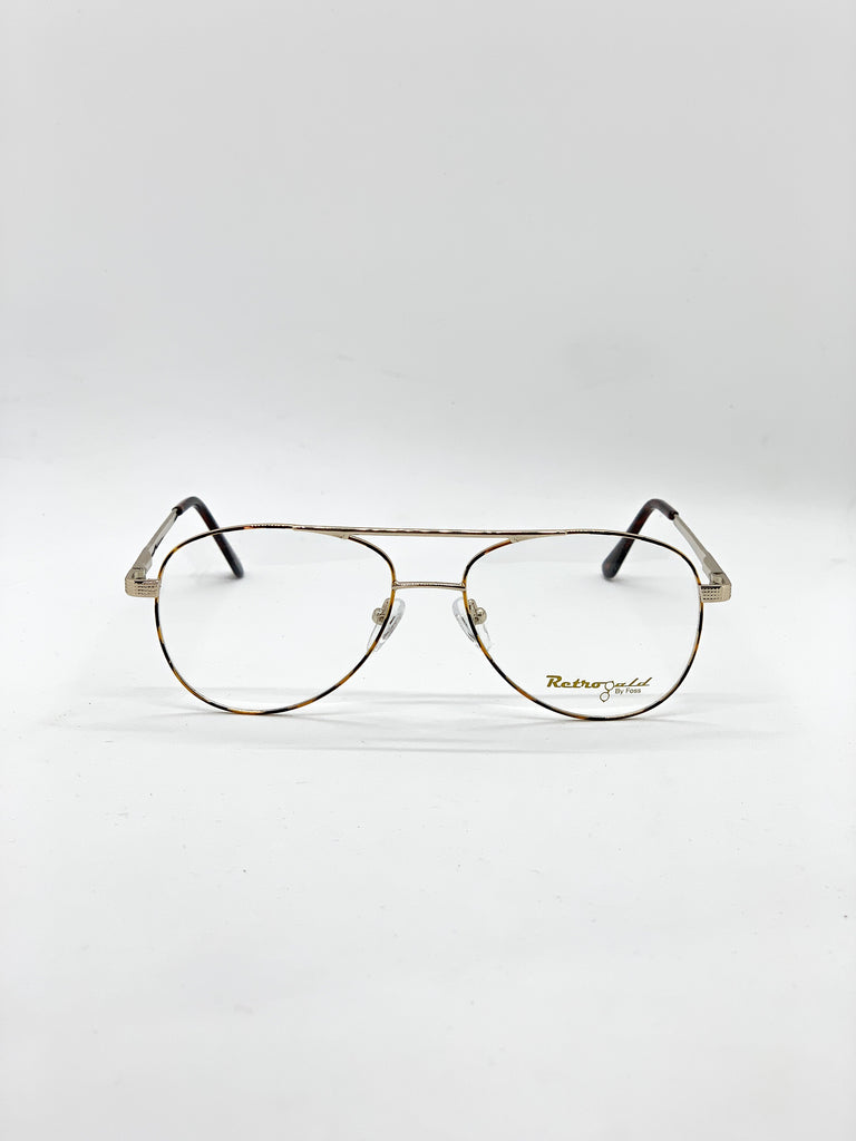 Gold and tartoise retro glasses fom the front