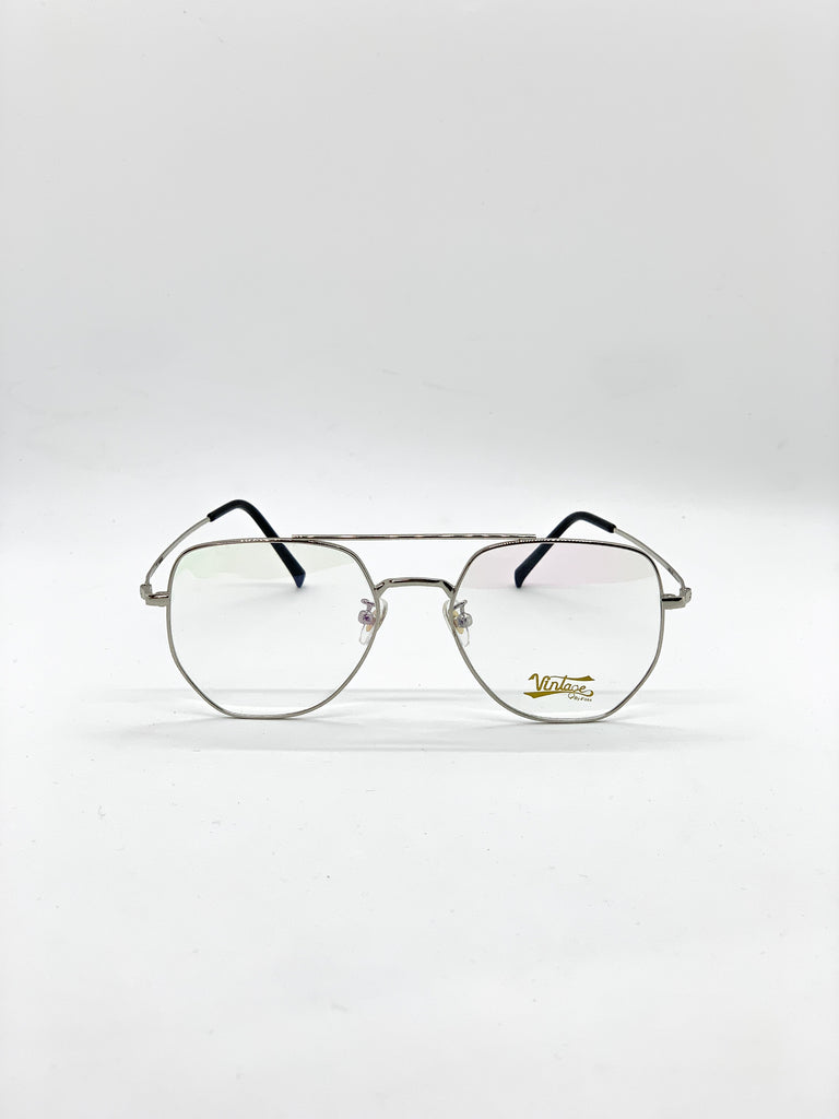 Silver retro glasses fom the front