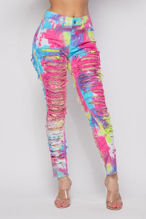 Tye Dye Distressed Jeans