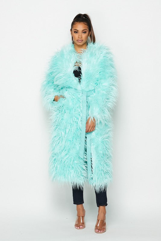 Alternative image for Shaggy Faux Fur Long Coat