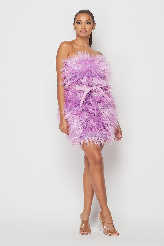 Shaggy Faux Fur Dress (Lavender)
