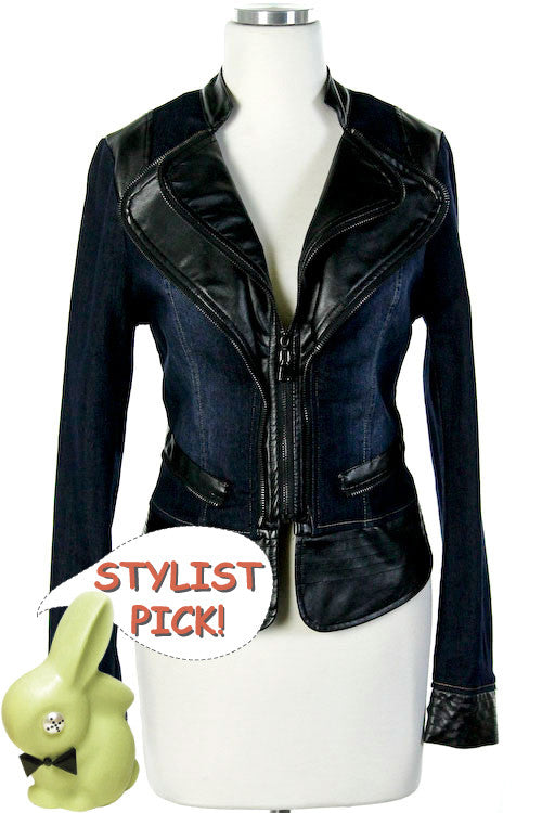 Dark Denim Faux Leather Jacket