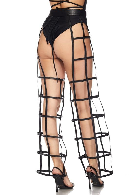 Alternative image for Level Up Cage Cut Out Chaps Pants