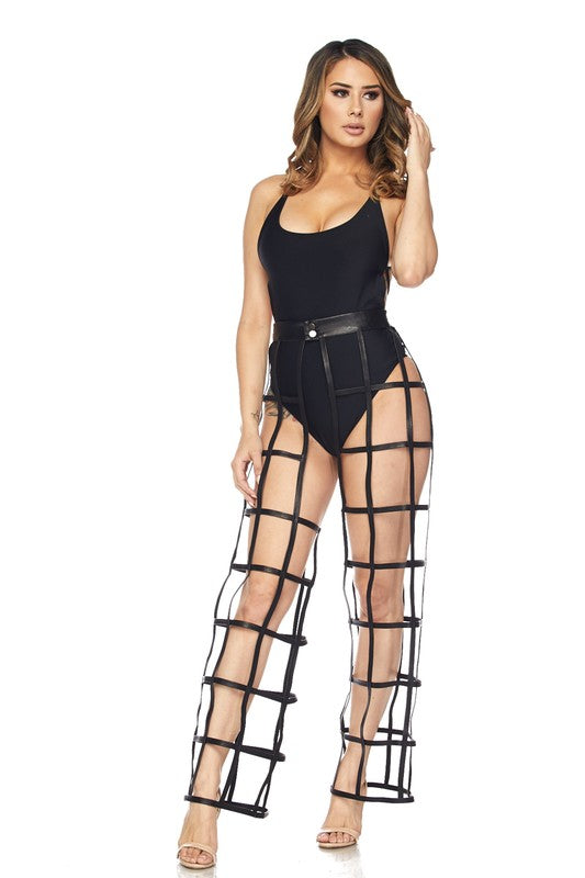 Level Up Cage Cut Out Chaps Pants