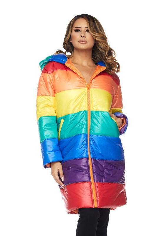 Alternative image for Down For Me Rainbow Long Puff Jacket