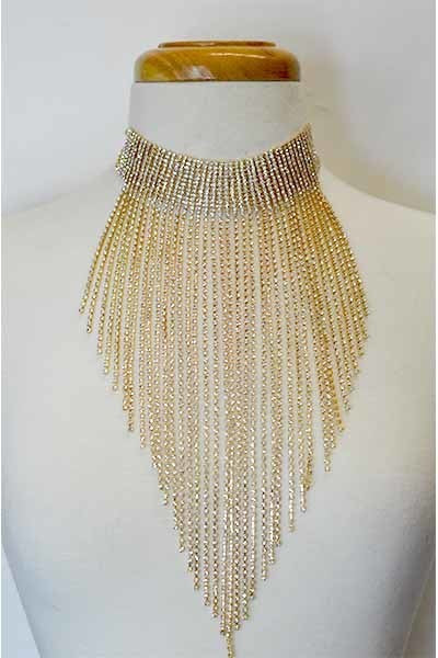 Glamorous Rhinestone Waterfall Necklace