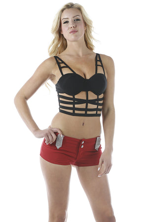 Strappy Bralet Top (Top Only) Black