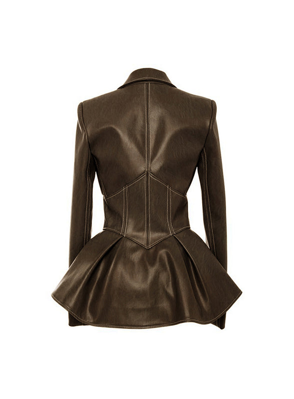 Faux Leather Jacket Top (Brown)