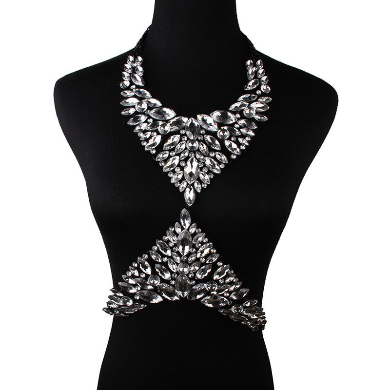 Gem Statement Necklace (Black)