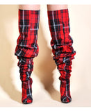 Plaid Boots (Red) - Thumbnail
