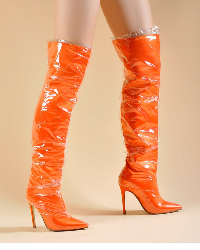 Alternative image for Knee High Plastic Boots (Orange)