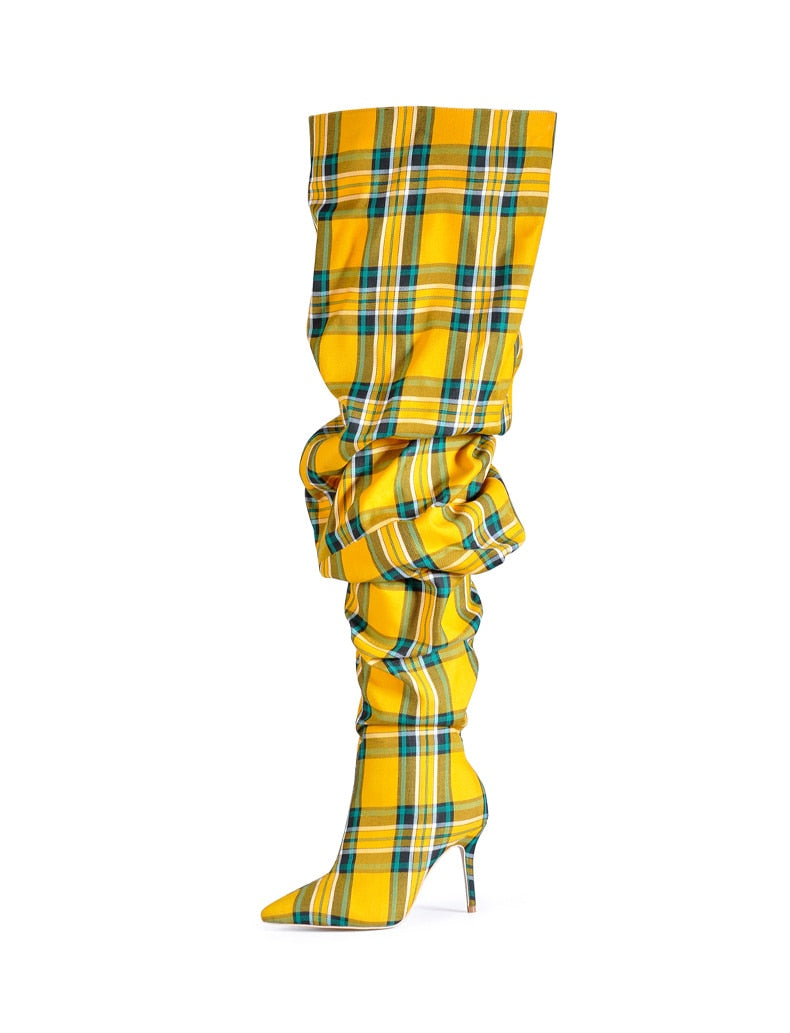 Plaid Boots (Yellow)