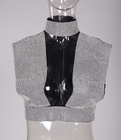 Deep V Rhinestone Top