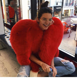 Heart Shaped Faux Fur Coat - Thumbnail