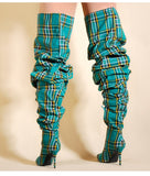 Plaid Boots (Green) - Thumbnail