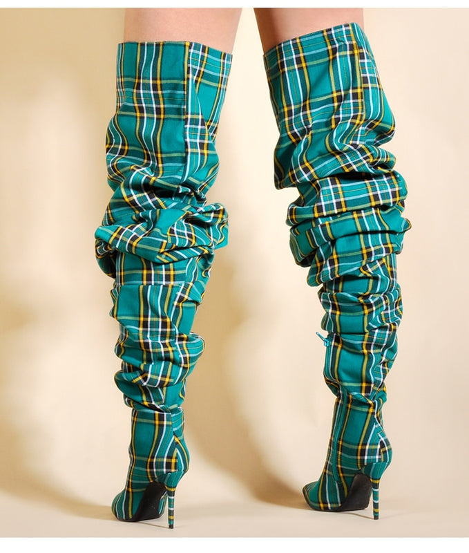 Alternative image for Plaid Boots (Green)