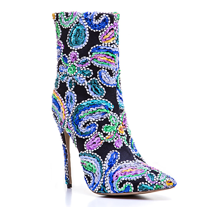 Alternative image for Pretty Floral Boots (Blue)