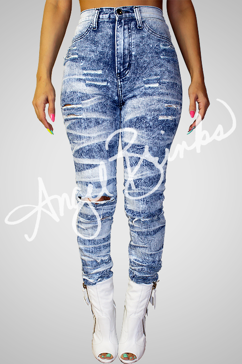High Rise Tiger Wash Jeans