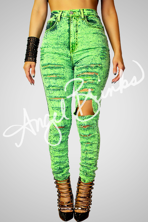 Neon Green Shredded Jeans