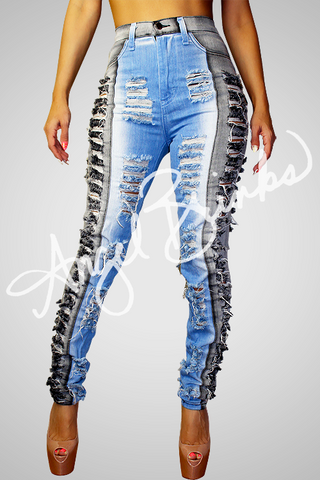 Two Tone Gray Shredded Jeans