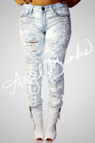 Light Wash Jeans w/Rhinestones