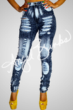 Splashed Paint Acid Wash Jeans