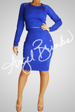 Classic Bandage Skirt Set (Royal Blue)