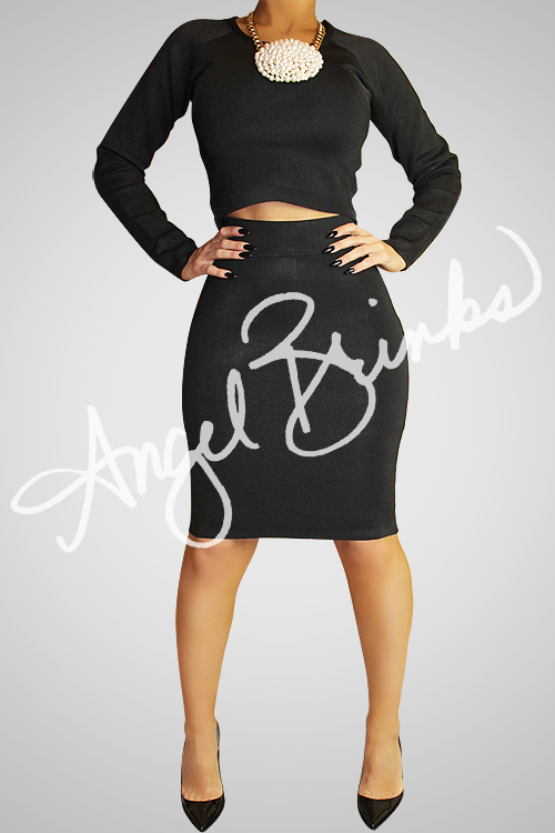 Alternative image for Classic Bandage Skirt Set (Black)