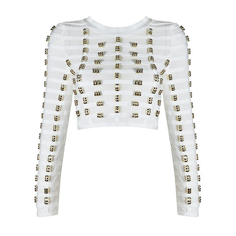 Rings Crop Bandage Top (White)