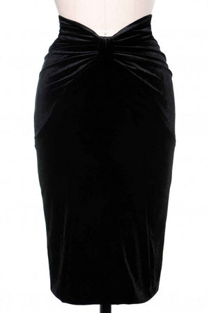 Black Velvet V-Cut Skirt