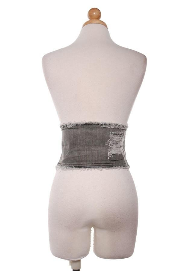Gray Wash Denim Corset
