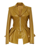 Faux Leather Jacket Top (Camel)