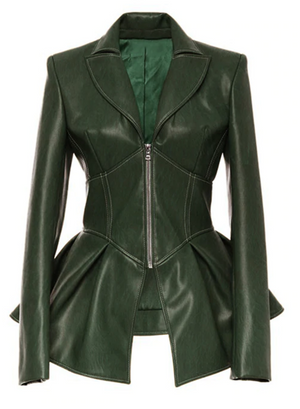 Faux Leather Jacket Top (Green)
