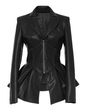 Faux Leather Jacket Top (Black)