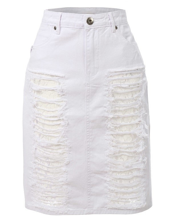 Billy Jean Denim Skirt (White)