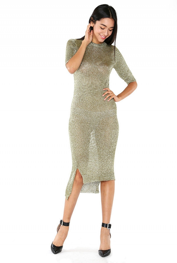 Gun Metal Dress (Khaki Gold)
