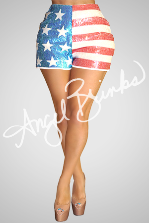 Sequin Flag Shorts