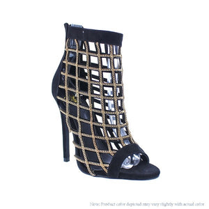 Chain Caged Heels (Black)