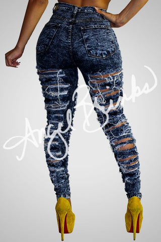 Double Sided Destroyed Jeans (Dark)