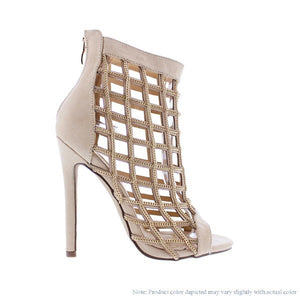 Chain Caged Heels (Nude)