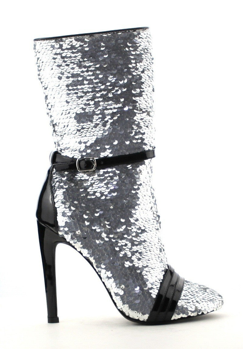 Sequin Booties (Silver)