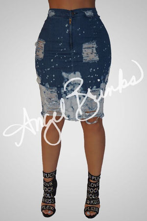 Acid Wash Denim Skirt