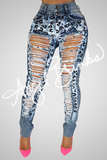 Leopard Rain Denim (with Shred)
