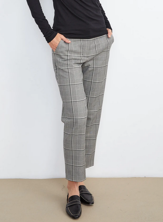 Velvet Plaid Straight Leg Plaid Pants