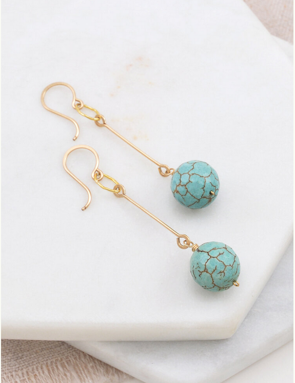 Amy Olson Vintage Turquoise Drop Earrings