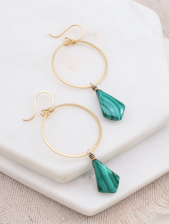 Amy Olson Malachite Drop Earrings