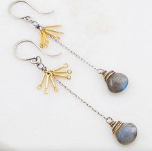 Load image into Gallery viewer, Amy Olson Labradorite Tassel Earrings