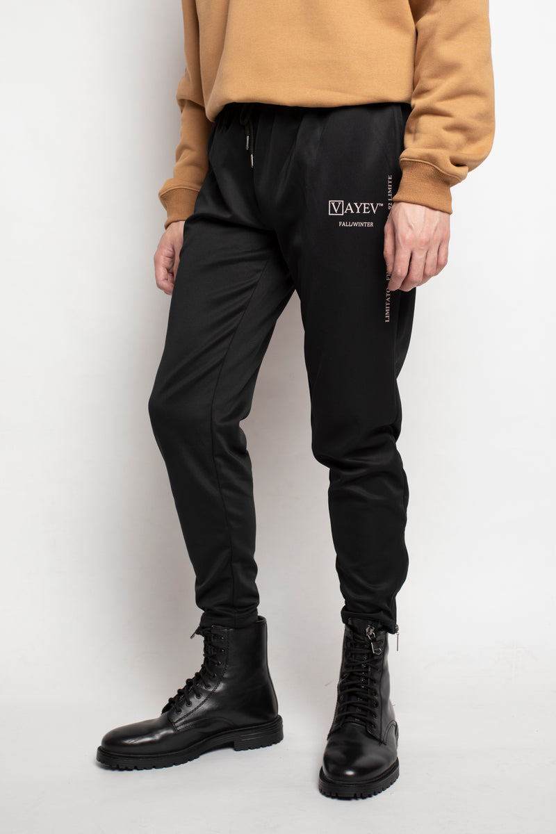 LMTD Zipper Trackpants - Black - VAYEV™ Streetwear Hypebeast
